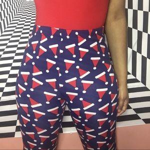 Santa hat print pajama pants